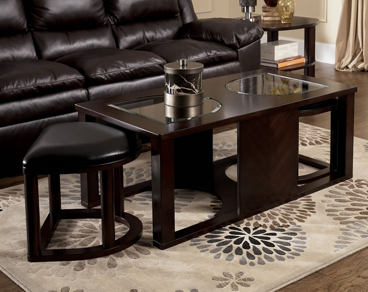 Magnificent Well Known Coffee Tables With Nesting Stools Pertaining To Coffee Table With Ottomans (Image 39 of 50)