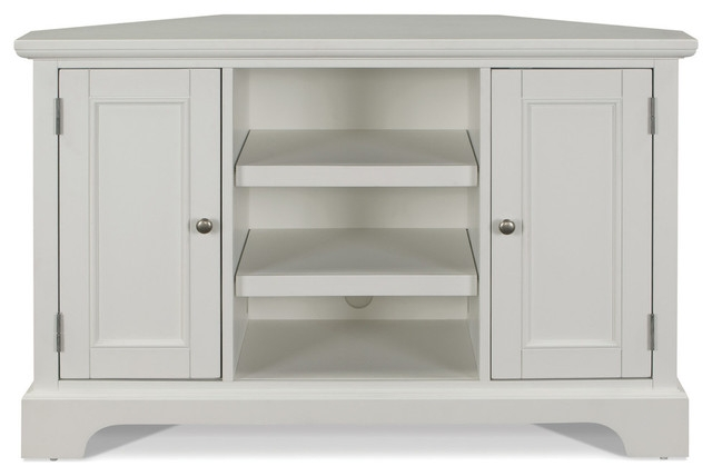 Magnificent Wellknown Corner TV Stands In Naples Corner Tv Stand White Transitional Entertainment (Photo 34 of 50)