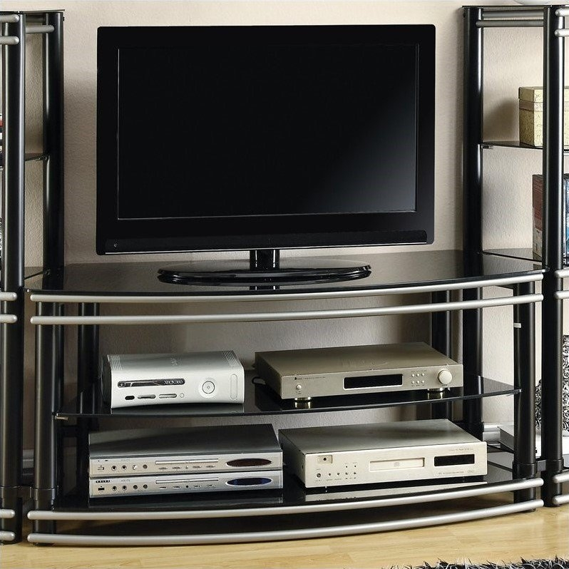 Magnificent Wellknown Curve TV Stands Regarding Coaster Curved Tv Stand In Black And Silver (View 10 of 50)