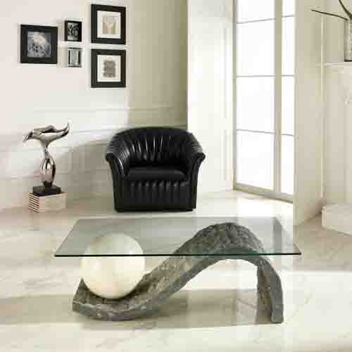 Magnificent Wellknown Glass And Stone Coffee Table Pertaining To Modern Sculptured Sphere Base Coffee Table L 120 W 70 H 41 Cm (Image 33 of 50)