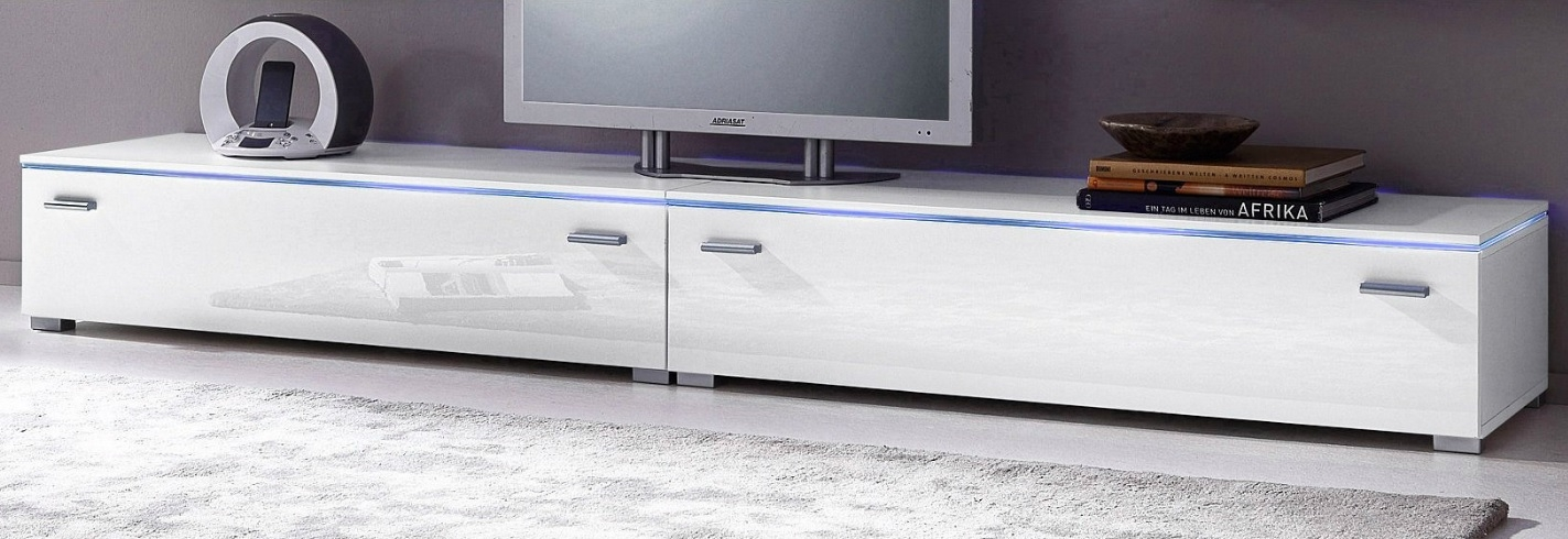 Magnificent Well Known Gloss White TV Stands In Tv Stand Blue Line 240 300cm (View 49 of 50)