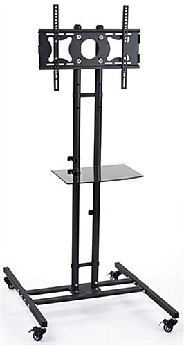 Magnificent Well Known Lockable TV Stands Throughout Mobile Tv Stand Black Floor Display With Shelf (Image 37 of 50)