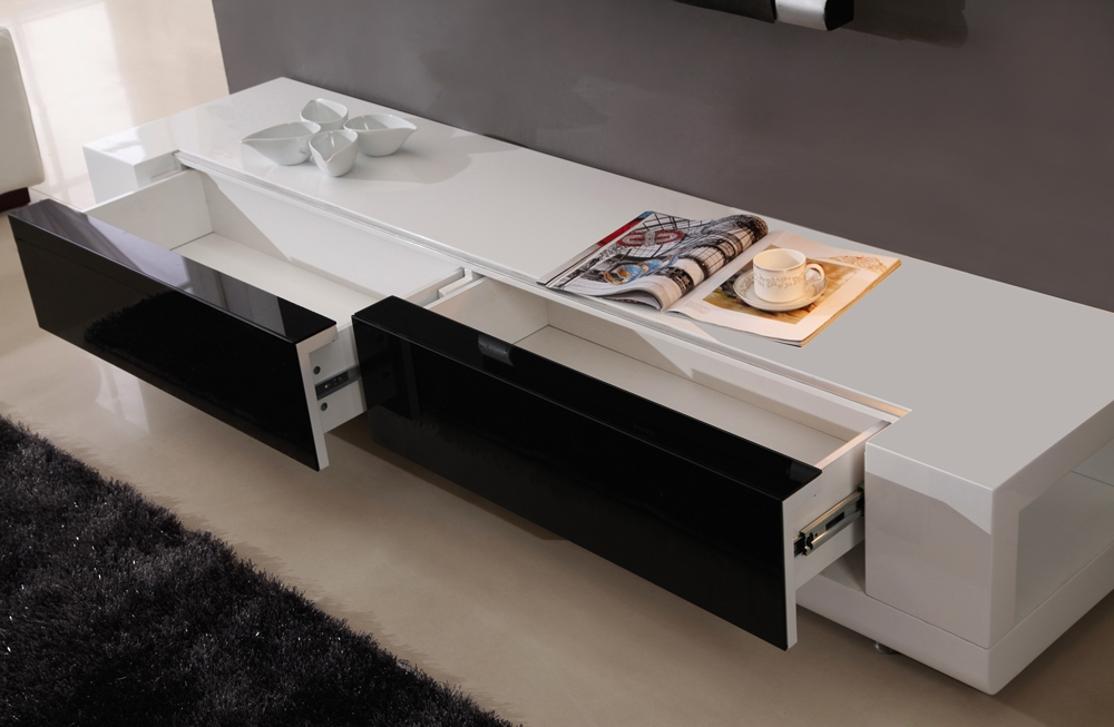 Magnificent Wellknown Long Black TV Stands Pertaining To B Modern Editor Tv Stand White High Gloss B Modern Modern (View 24 of 50)