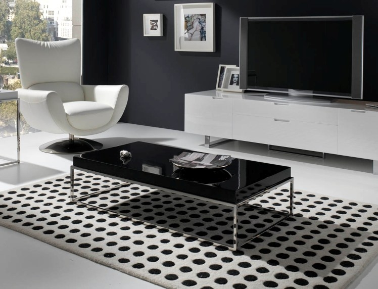 Magnificent Well Known Modern Chrome Coffee Tables For Contemporary Chrome Coffee Table With A Top In White Or Black Lacquer (Image 31 of 40)