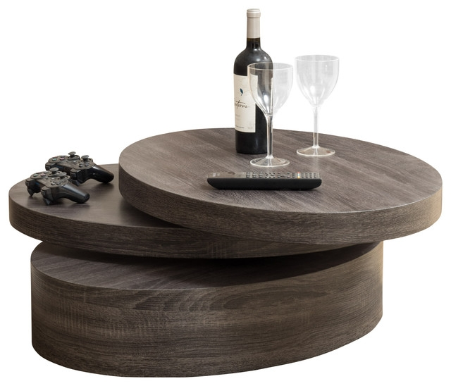 Magnificent Well Known Oval Wood Coffee Tables Pertaining To Lenox Oval Mod Rotating Wood Coffee Table Contemporary Coffee (Image 37 of 50)