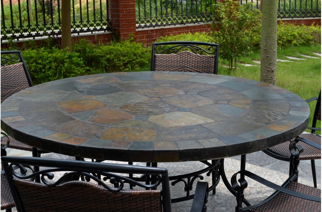 Magnificent Wellknown Round Slate Top Coffee Tables Throughout 63 Round Slate Outdoor Patio Dining Table Stone Oceane (Image 32 of 40)