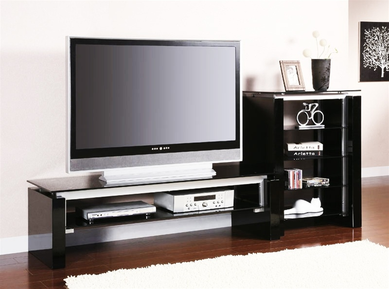Magnificent Well Known Silver TV Stands With Regard To Black And Silver Tv Stand With Side Pier Coaster (View 6 of 50)
