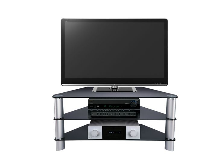 Magnificent Well Known Triangular TV Stands Within Tv Stands Favorite Design 3 Shelf Glass Tv Stand Black Colors (Image 34 of 50)