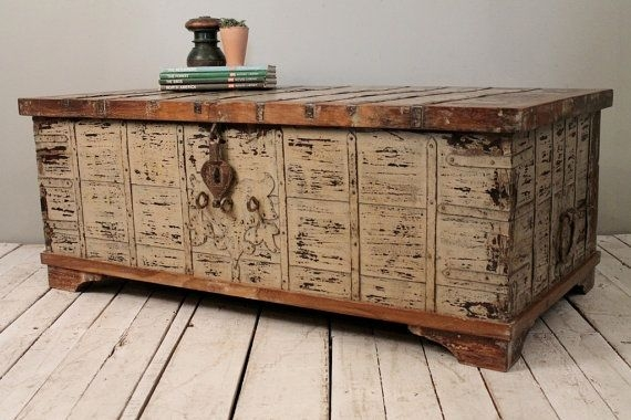 Magnificent Well Known Trunks Coffee Tables With Regard To Reclaimed Salvaged Antique Indian Wood Iron And Brass Wedding (Image 29 of 40)