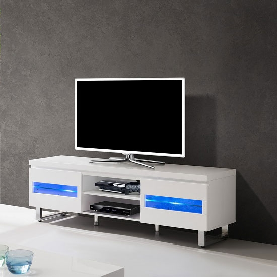 Magnificent Wellknown TV Stands With LED Lights Pertaining To Zedan Lcd Tv Stand In White Gloss With Led Lights  (Image 39 of 50)