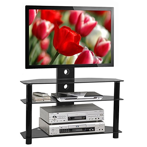 Magnificent Wellliked Black And Red TV Stands Pertaining To Tinx Black Glass Tv Stand Tv Bracket Lcd Plasma Led Amazoncouk (Image 35 of 50)