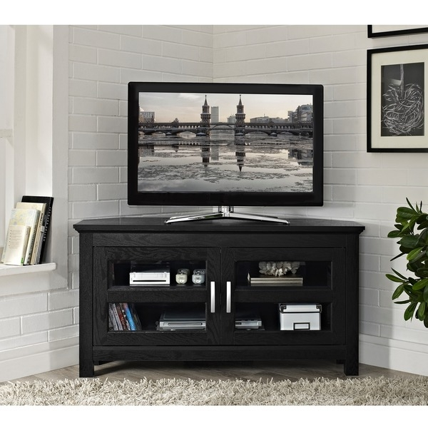 Magnificent Wellliked Black TV Stands With Glass Doors Throughout Tv Stands Amusing Black Tempered Glass Tv Stand 2017 Design (Image 29 of 50)