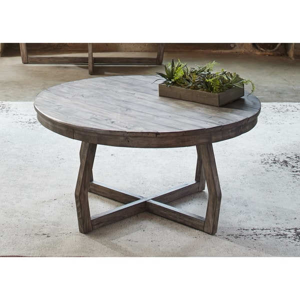 Magnificent Wellliked Grey Wash Coffee Tables Inside Hayden Way Gray Wash Reclaimed Wood Round Cocktail Table Free (View 28 of 50)