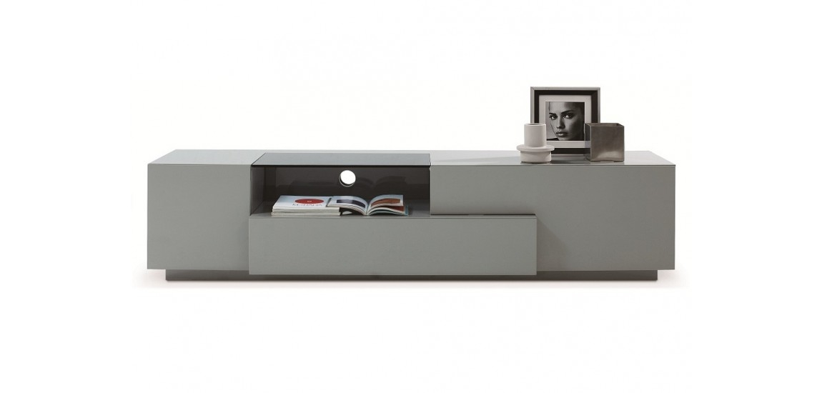 Magnificent Wellliked Long Black TV Stands Regarding Tv015 Large Tv Stand In Grey High Gloss Finish (View 16 of 50)