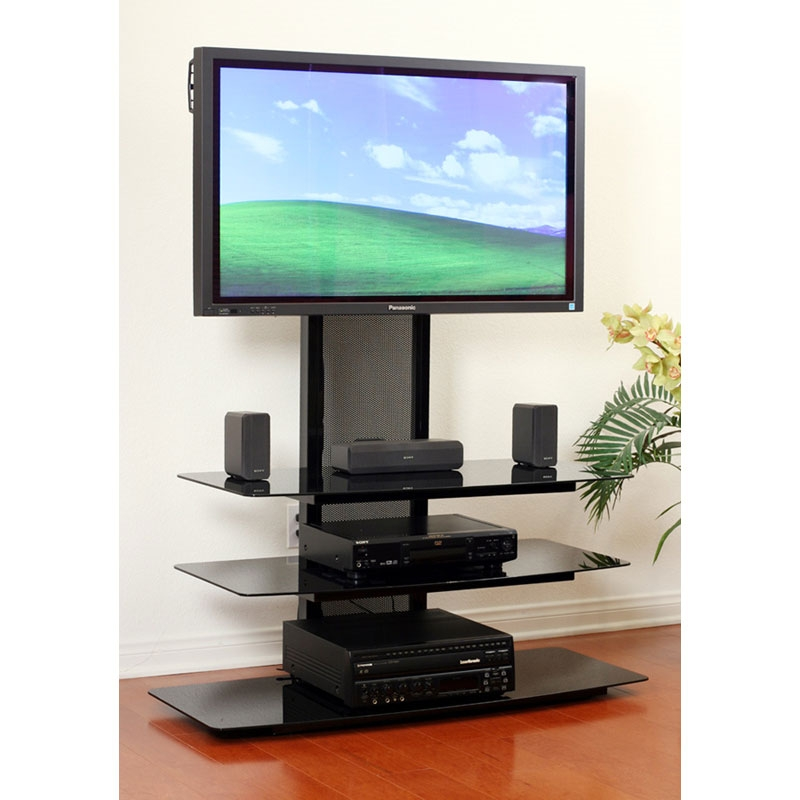Magnificent Wellliked Modern TV Stands With Mount Within Transdeco Black Glass Tv Stand With Integrated Flat Panel Mount (Image 36 of 50)