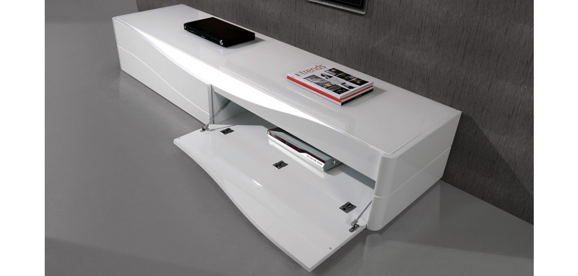 Magnificent Wellliked Modern White Lacquer TV Stands With Regard To Zao Contemporary Tv Stand In White Lacquer Finish Jm (Image 34 of 50)