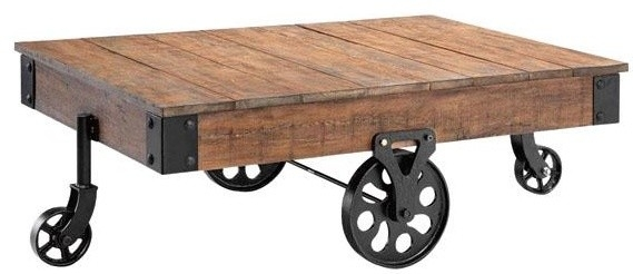 Magnificent Wellliked Rustic Coffee Table With Wheels Regarding Rustic Coffee Table With Wheels (Image 38 of 50)