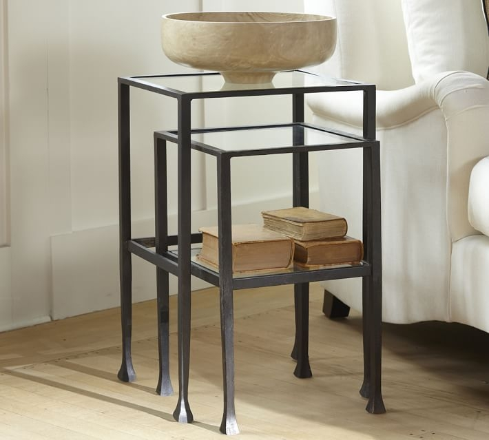 Magnificent Wellliked Stackable Coffee Tables Inside Tanner Nesting Side Tables Bronze Finish Pottery Barn (View 39 of 50)