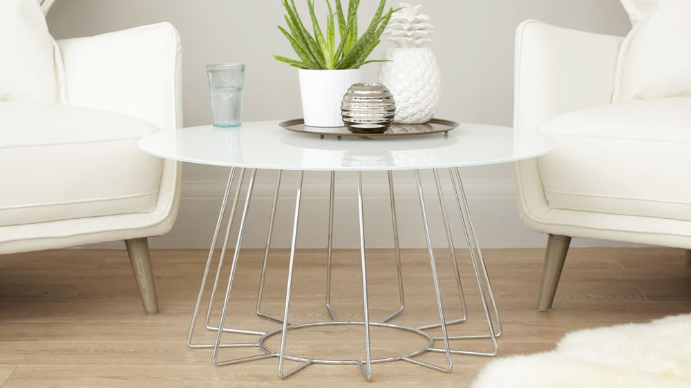 Magnificent Wellliked White And Glass Coffee Tables For White Glass And Chrome Coffee Table Living Room Furniture (Image 29 of 40)