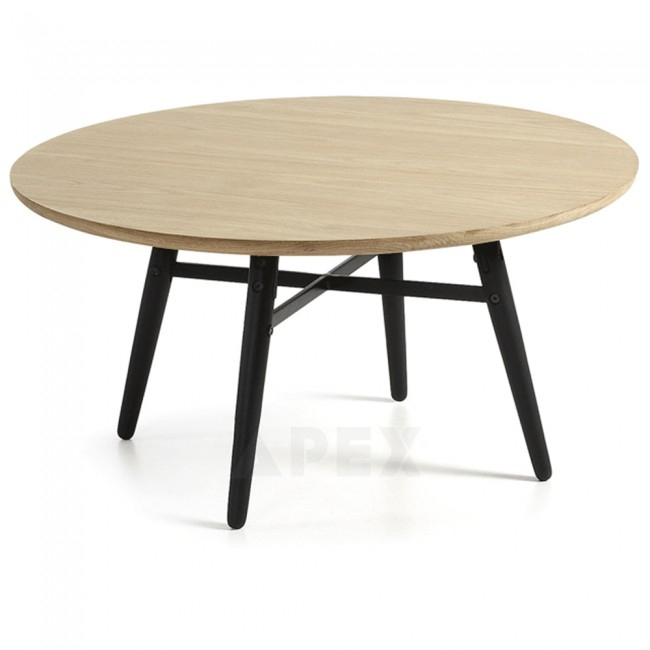 Magnificent Widely Used Ava Coffee Tables Regarding Ava Round Coffee Table Top In White American Oak And Metal Barons (Image 41 of 50)