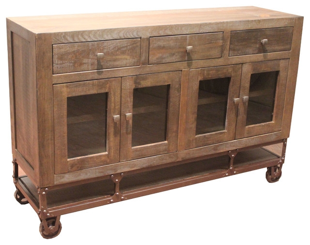 Magnificent Widely Used Industrial Style TV Stands In Rustic Style Forged Iron Base Sideboard Tv Stand On Wheels (View 36 of 50)