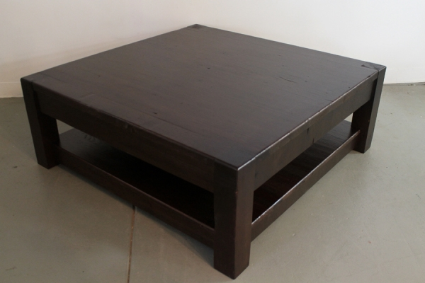 Magnificent Widely Used Large Square Wood Coffee Tables Pertaining To Large Square Old Pine Coffee Table In Espresso Lake And Mountain (Image 40 of 50)