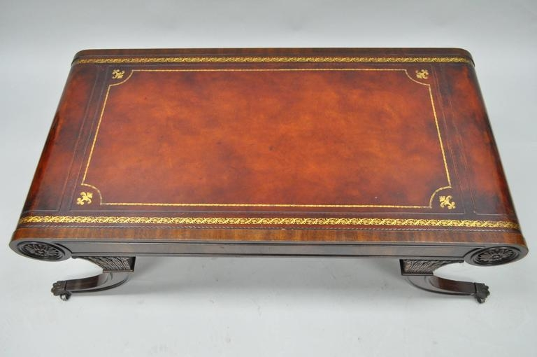 Magnificent Widely Used Mahogany Coffee Tables For Vintage Weiman Regency Tooled Leather Scroll Top Crotch Mahogany (Image 34 of 50)