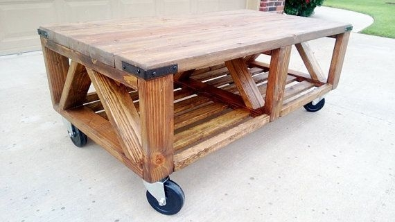 Magnificent Widely Used Rustic Coffee Table With Wheels With Coffee Table Rustic Coffee Table With Wheels Farmhouse Coffee (Image 39 of 50)