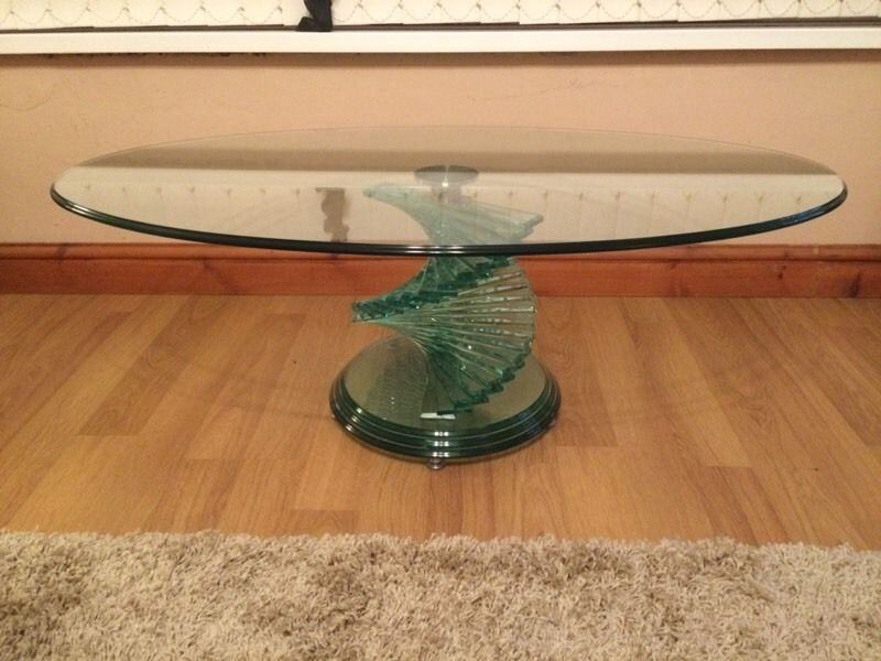 Magnificent Widely Used Spiral Glass Coffee Table Pertaining To Oval Glass Coffee Table With Spiral Base In New Inn Torfaen (View 16 of 50)