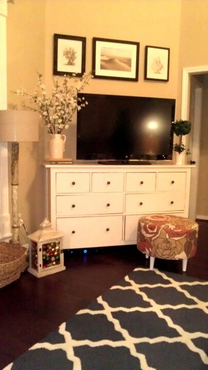 Magnificent Widely Used TV Stands With Baskets Inside Best 25 Dresser Tv Ideas On Pinterest Dresser Tv Stand Painted (Image 38 of 50)