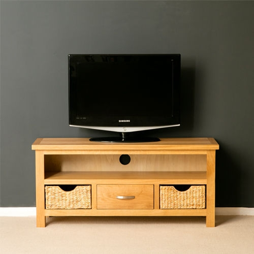 Magnificent Widely Used TV Stands With Storage Baskets With London Oak Tv Unit With Storage Baskets Large Oak Tv Stand (Image 34 of 50)
