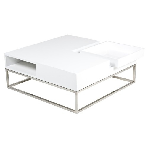 Magnificent Widely Used White And Chrome Coffee Tables Intended For Audrina Coffee Table In White Lacquer Pangea Furniture The (Photo 45 of 50)