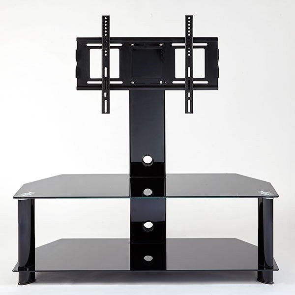 Magnificent Widely Used White Cantilever TV Stands For Mmt Cb1102 Rio Premium Black Glass Cantilever Tv Stand For (View 46 of 50)
