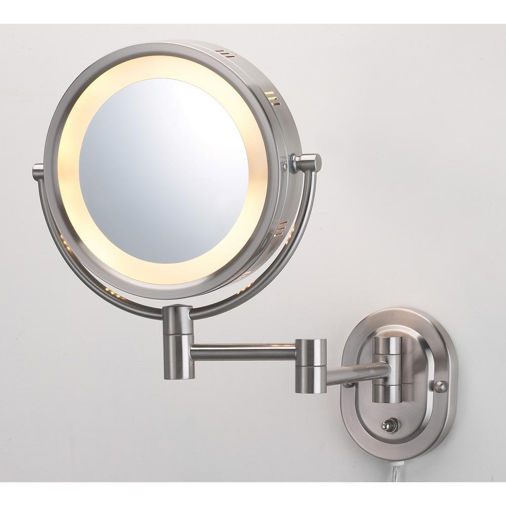 Magnifying Mirrors – Bathroom Mirrors – The Home Depot Intended For Mirror Wall Light (Image 10 of 20)