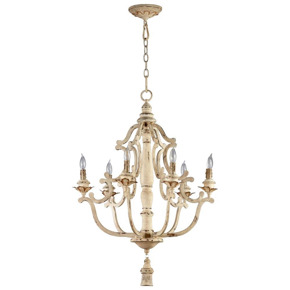 Maison French Country Antique White 6 Light Chandelier Kathy Kuo With French Country Chandeliers (View 22 of 25)