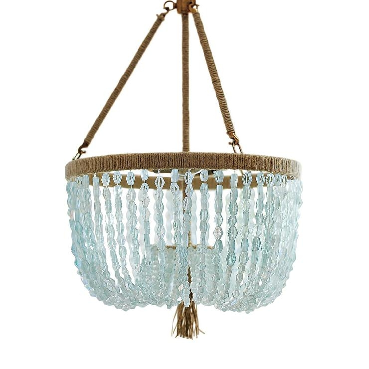 Make A Turquoise Beaded Chandelier Dollar Store Crafts Within Turquoise Blue Beaded Chandeliers (Image 18 of 25)