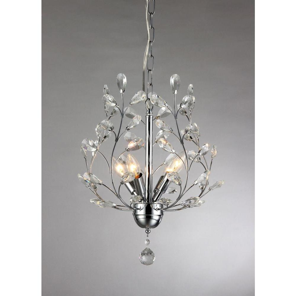Marie 4 Light Chrome Indoor Crystal Chandelier With Shade Rl8026 With 4Light Chrome Crystal Chandeliers (Image 12 of 25)