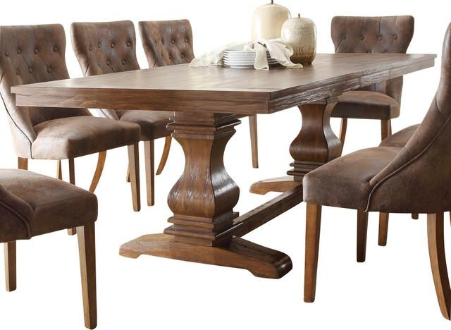 Marie Louise Double Pedestal Dining Table, Rustic Brown Within Traditional Dining Tables (View 18 of 20)