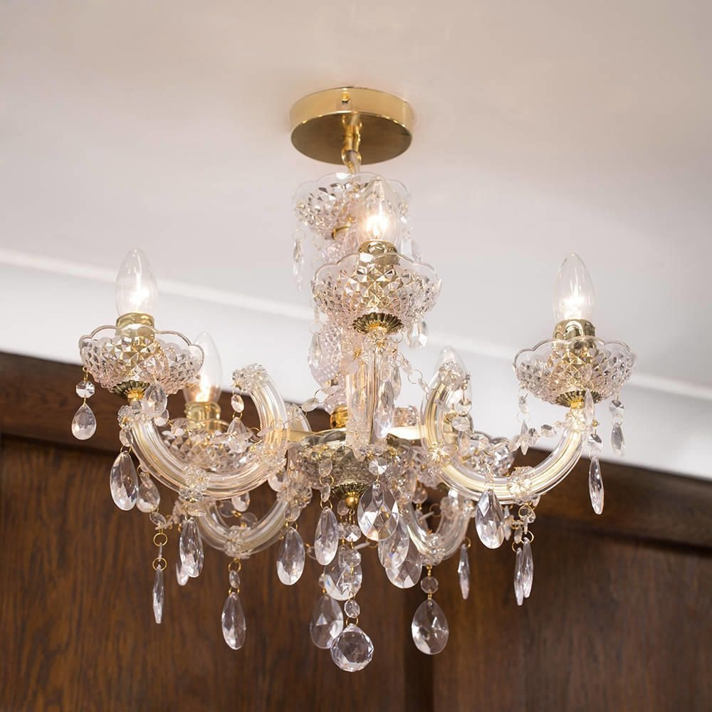 Marie Therese 5 Light Dual Mount Chandelier Gold From Litecraft Pertaining To Short Chandeliers (Image 15 of 25)