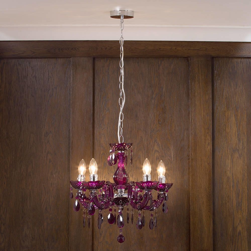 Marie Therese Chandelier 5 Light Dual Mount Plum From Litecraft Intended For Short Chandeliers (Image 16 of 25)