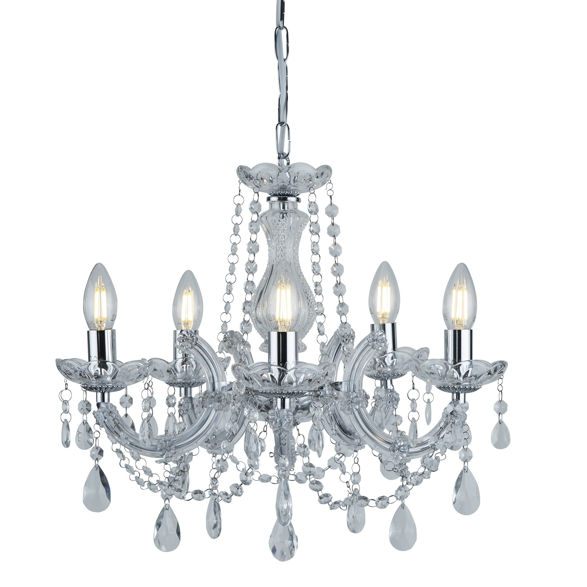 Marie Therese Chrome 5 Light Chandelier With Crystal Drops For Crystal Chrome Chandeliers (Image 19 of 25)