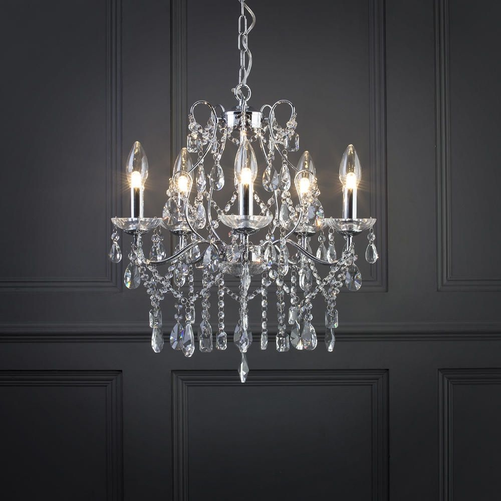 Marquis Waterford Annalee Large Led 5 Light Bathroom Inside Chandelier Bathroom Ceiling Lights (Image 22 of 25)