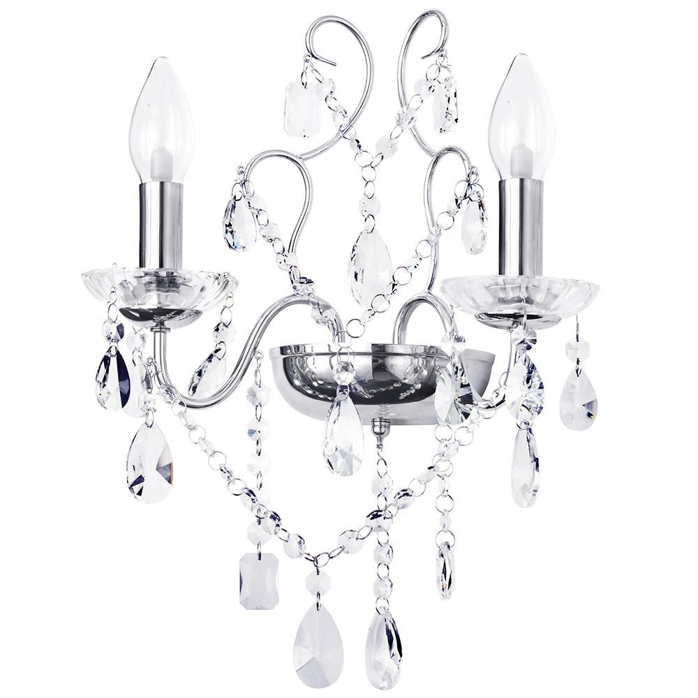 Marquis Waterford Annalee Led Bathroom Wall Light Chrome For Bathroom Chandelier Wall Lights (Image 23 of 25)