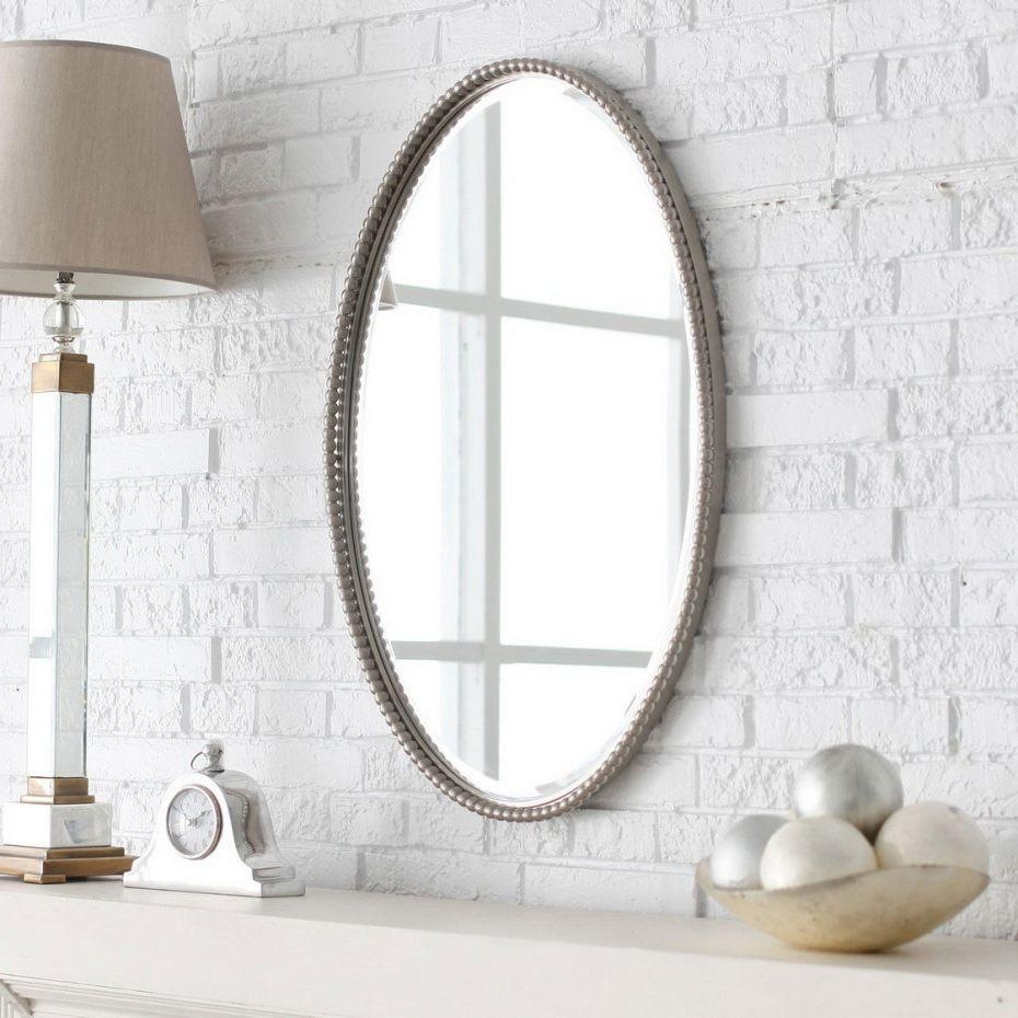 Master Bathroom Mirror Ideas Oval Brown Wooden Frame Wall Mirror Inside Chrome Wall Mirrors (Image 13 of 20)