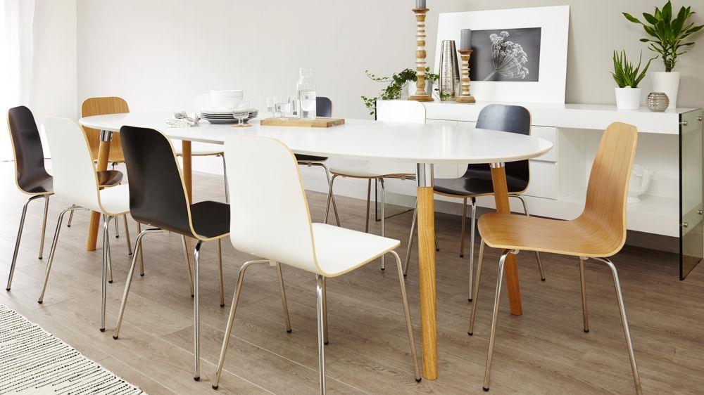 Matt White Extending Dining Table | Oak & Chrome Legs | Uk Pertaining To Dining Tables With White Legs (Image 11 of 20)
