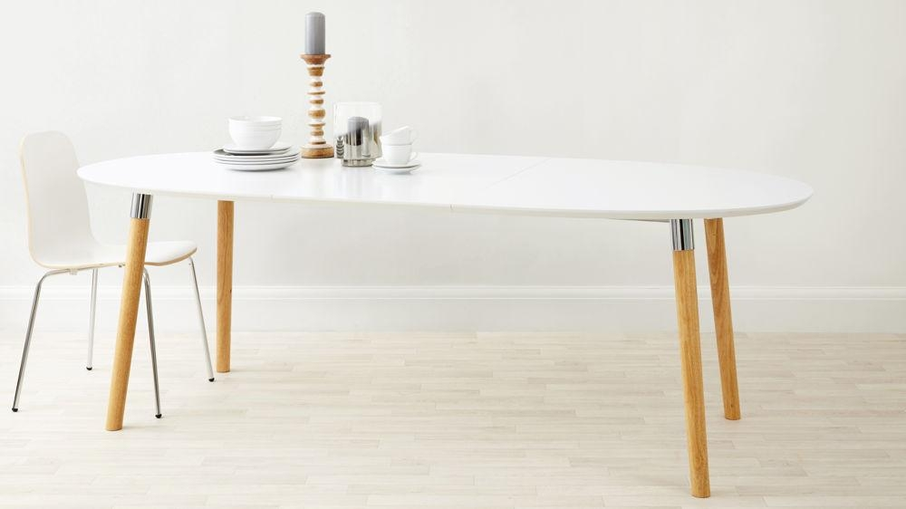Matt White Extending Dining Table | Oak & Chrome Legs | Uk Throughout White Extending Dining Tables (Image 11 of 20)