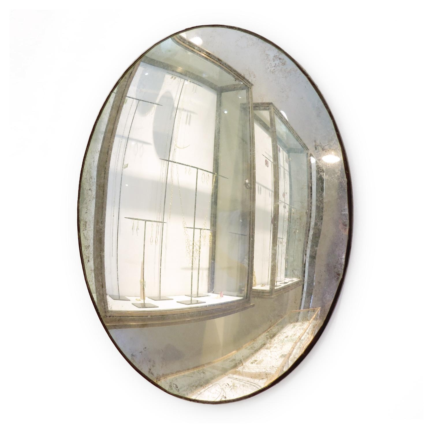 Maureen Fullam 16 X 20 Inches Large Convex Oval Silver Leafed With Large Oval Mirror (Photo 9 of 20)