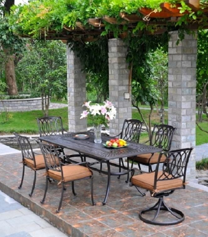 Mayfairhanamint Luxury Cast Aluminum Rectangular Extension Within Mayfair Dining Tables (Photo 14 of 20)