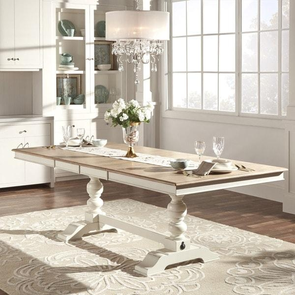 Mckay Country Antique White Pedestal Extending Dining Table Intended For White Extending Dining Tables (Image 12 of 20)