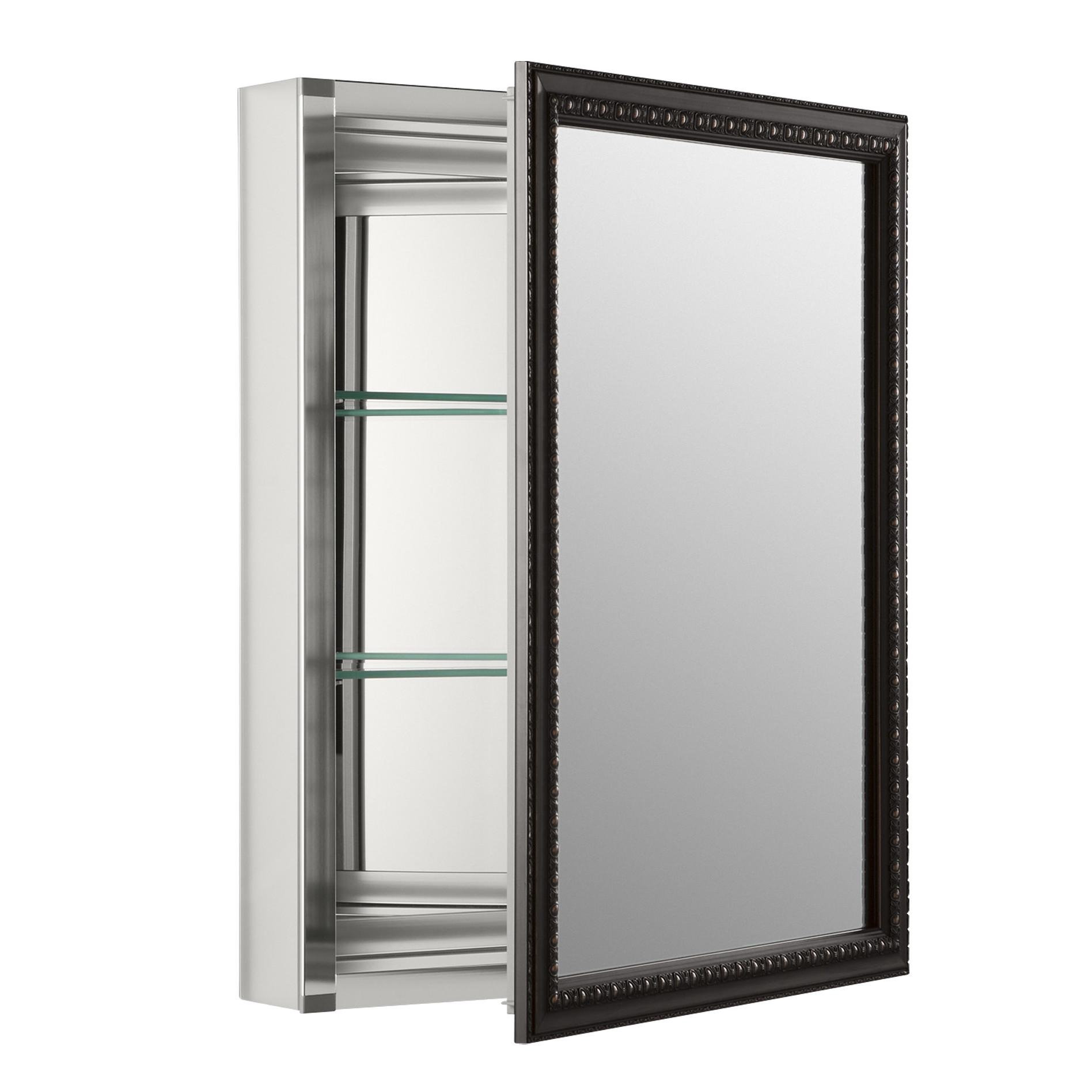 Medicine Cabinets Wayfair 20 X 26 Wall Mount Mirrored Cabinet With Within Black Mirrored Cabinet (Image 19 of 20)